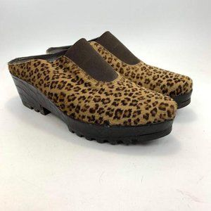 Donald J Pliner Leopard Rasha Wedge Clogs fur